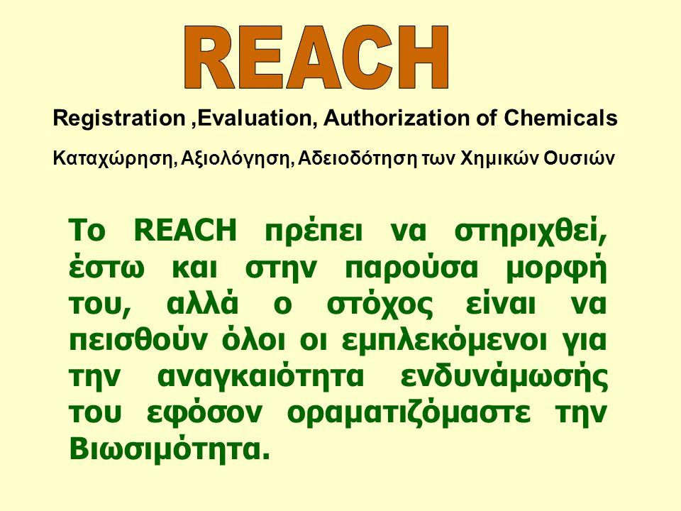 Registration,Evaluation, Authorization of Chemicals Καταχώρηση, Αξιολόγηση, Αδειοδότηση των Χημικών Ουσιών Το REACH πρέπει να στηριχθεί, έστω και στην
