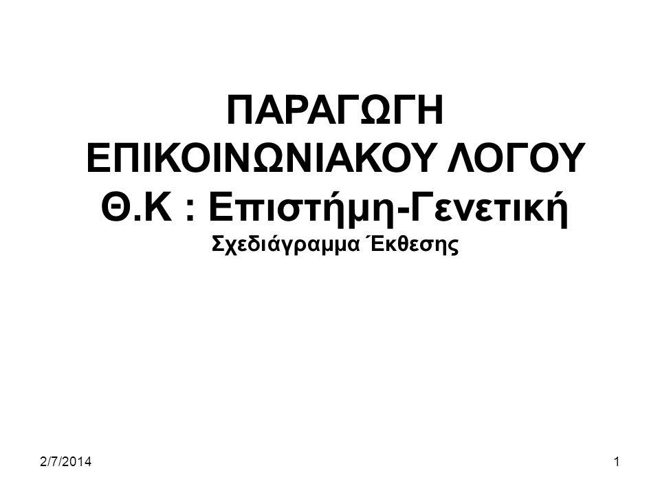 ΠΑΡΑΓΩΓΗ ΕΠΙΚΟΙΝΩΝΙΑΚΟΥ ΛΟΓΟΥ Θ.Κ : Επιστήμη-Γενετική Σχεδιάγραμμα Έκθεσης 2/7/20141