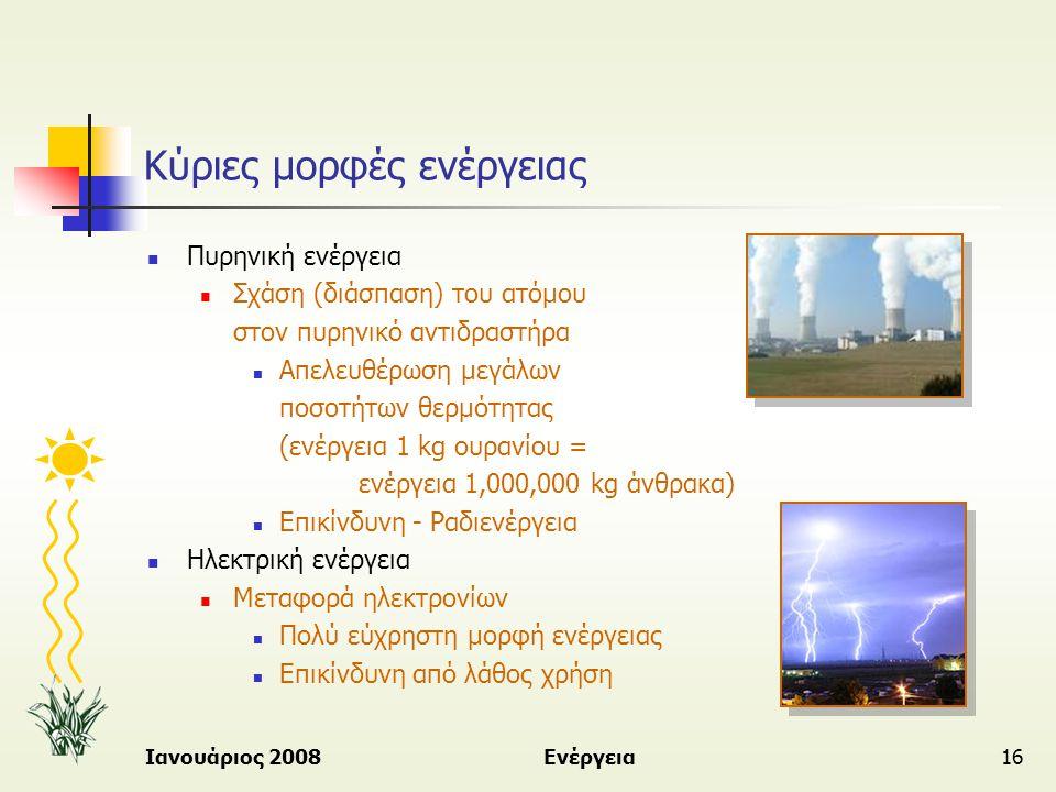 Ιανουάριος 2008Ενέργεια16 Κύριες μορφές ενέργειας  Πυρηνική ενέργεια  Σχάση (διάσπαση) του ατόμου στον πυρηνικό αντιδραστήρα  Απελευθέρωση μεγάλων
