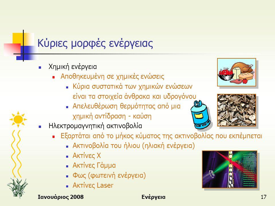 Ιανουάριος 2008Ενέργεια17 Κύριες μορφές ενέργειας  Χημική ενέργεια  Αποθηκευμένη σε χημικές ενώσεις  Κύρια συστατικά των χημικών ενώσεων είναι τα σ