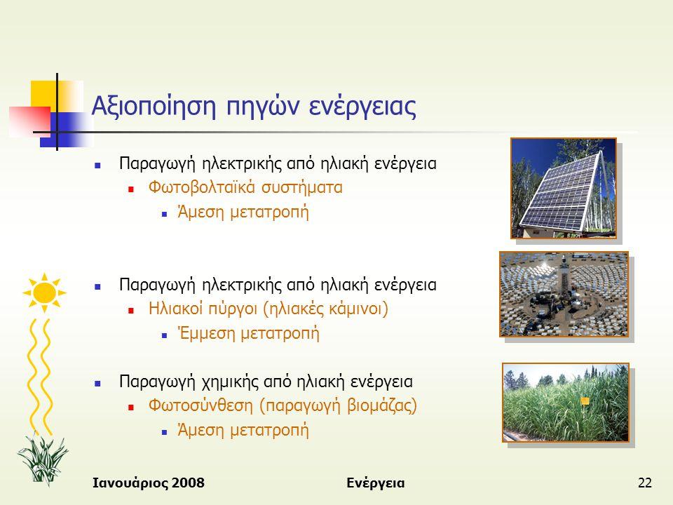 Ιανουάριος 2008Ενέργεια22 Αξιοποίηση πηγών ενέργειας  Παραγωγή ηλεκτρικής από ηλιακή ενέργεια  Φωτοβολταϊκά συστήματα  Άμεση μετατροπή  Παραγωγή η