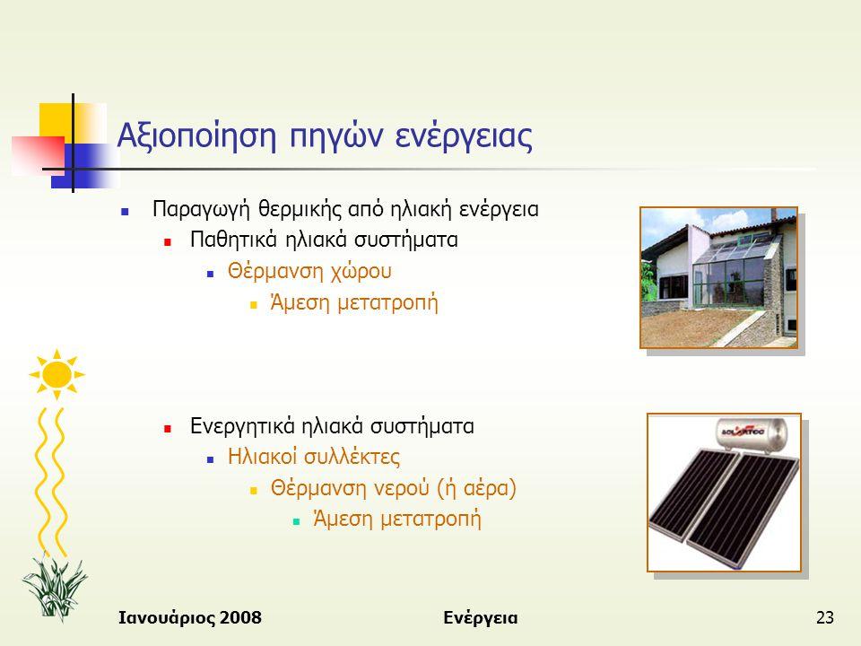 Ιανουάριος 2008Ενέργεια23 Αξιοποίηση πηγών ενέργειας  Παραγωγή θερμικής από ηλιακή ενέργεια  Παθητικά ηλιακά συστήματα  Θέρμανση χώρου  Άμεση μετα