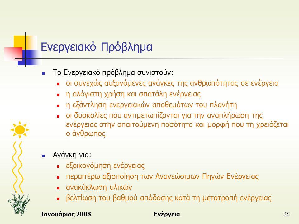 Ιανουάριος 2008Ενέργεια28 Ενεργειακό Πρόβλημα  Το Ενεργειακό πρόβλημα συνιστούν:  οι συνεχώς αυξανόμενες ανάγκες της ανθρωπότητας σε ενέργεια  η αλ