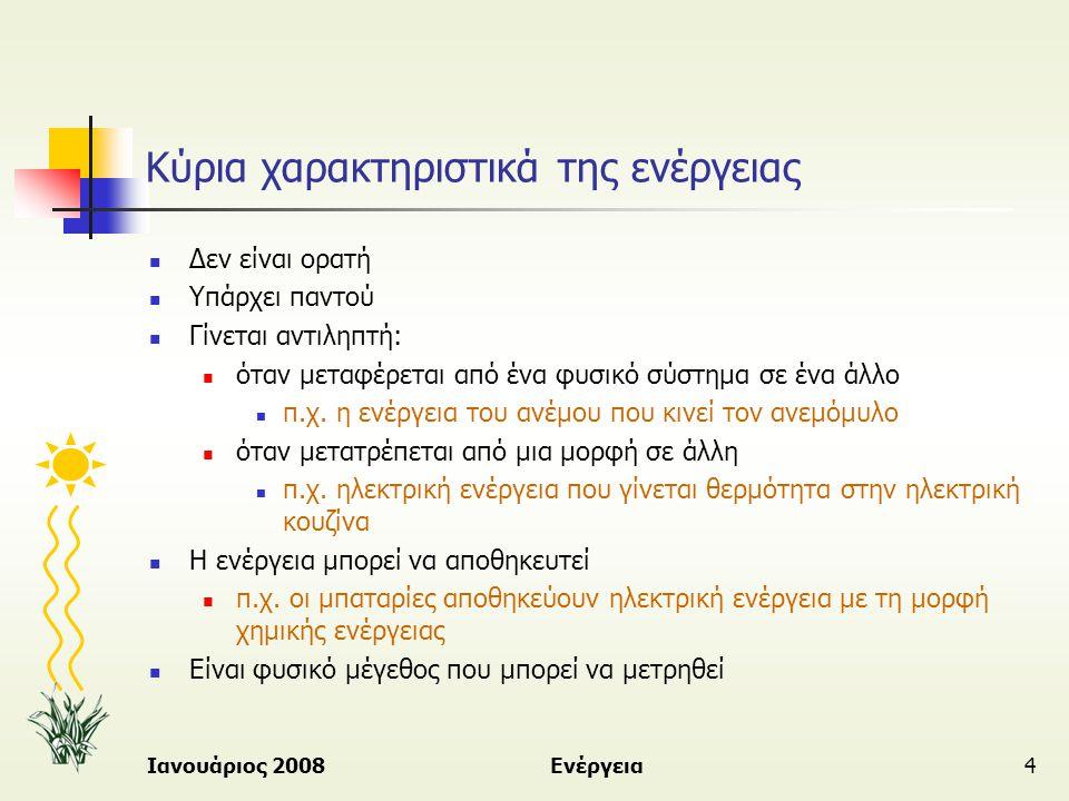 Ιανουάριος 2008Ενέργεια4 Κύρια χαρακτηριστικά της ενέργειας  Δεν είναι ορατή  Υπάρχει παντού  Γίνεται αντιληπτή:  όταν μεταφέρεται από ένα φυσικό