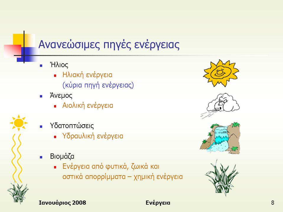 Ιανουάριος 2008Ενέργεια8 Ανανεώσιμες πηγές ενέργειας  Ήλιος  Ηλιακή ενέργεια (κύρια πηγή ενέργειας)  Άνεμος  Αιολική ενέργεια  Υδατοπτώσεις  Υδρ