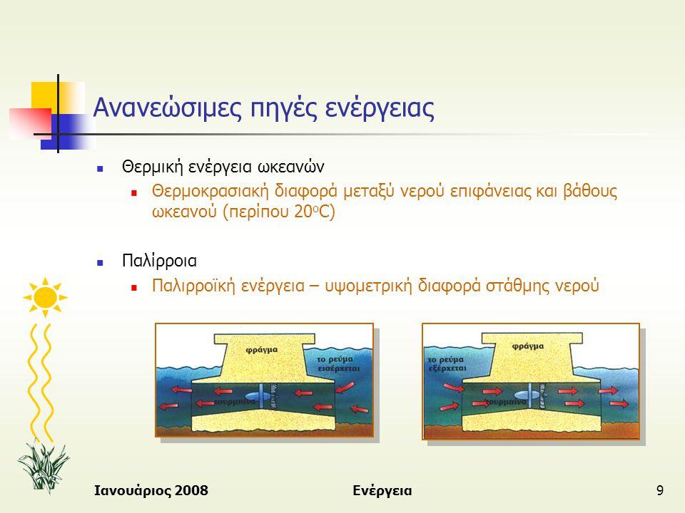 Ιανουάριος 2008Ενέργεια9 Ανανεώσιμες πηγές ενέργειας  Θερμική ενέργεια ωκεανών  Θερμοκρασιακή διαφορά μεταξύ νερού επιφάνειας και βάθους ωκεανού (πε