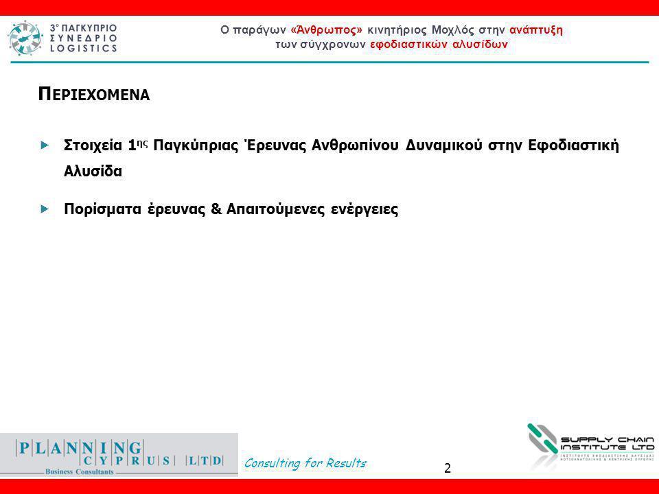 Consulting for Results Ο παράγων «Άνθρωπος» κινητήριος Μοχλός στην ανάπτυξη των σύγχρονων εφοδιαστικών αλυσίδων 2 Π ΕΡΙΕΧΟΜΕΝΑ  Στοιχεία 1 ης Παγκύπριας Έρευνας Ανθρωπίνου Δυναμικού στην Εφοδιαστική Αλυσίδα  Πορίσματα έρευνας & Απαιτούμενες ενέργειες