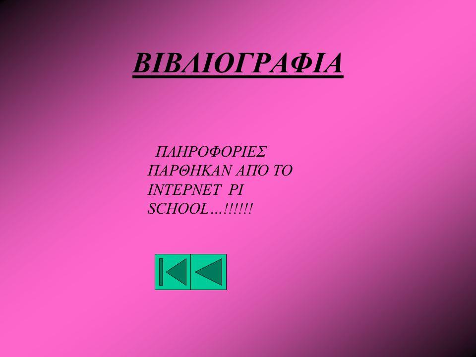 ΒΙΒΛΙΟΓΡΑΦΙΑ ΠΛΗΡΟΦΟΡΙΕΣ ΠΑΡΘΗΚΑΝ ΑΠΌ ΤΟ ΙΝΤΕΡΝΕΤ PI SCHOOL…!!!!!!
