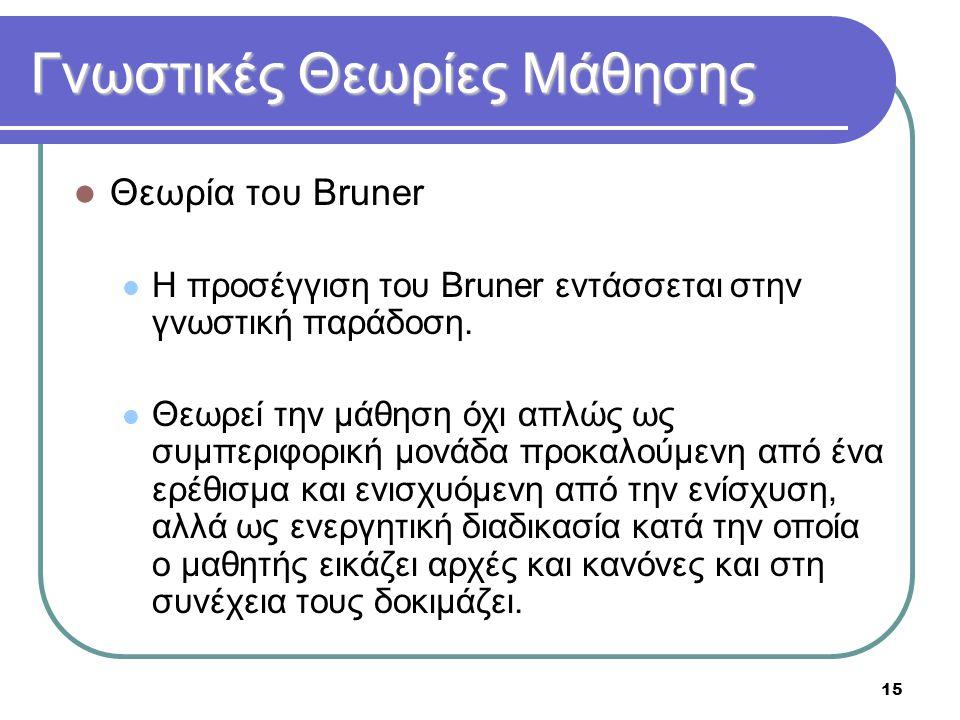 15 Γνωστικές Θεωρίες Μάθησης  Θεωρία του Bruner  Η προσέγγιση του Bruner εντάσσεται στην γνωστική παράδοση.  Θεωρεί την μάθηση όχι απλώς ως συμπερι