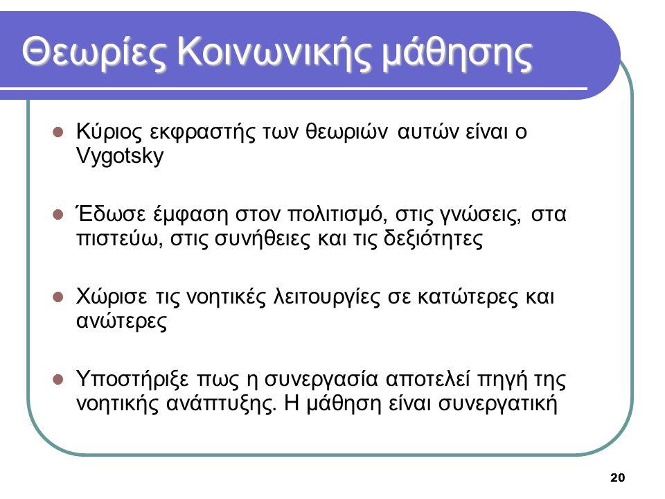 20 Θεωρίες Κοινωνικής μάθησης  Κύριος εκφραστής των θεωριών αυτών είναι ο Vygotsky  Έδωσε έμφαση στον πολιτισμό, στις γνώσεις, στα πιστεύω, στις συν