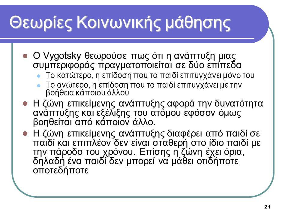 21 Θεωρίες Κοινωνικής μάθησης  Ο Vygotsky θεωρούσε πως ότι η ανάπτυξη μιας συμπεριφοράς πραγματοποιείται σε δύο επίπεδα  Το κατώτερο, η επίδοση που