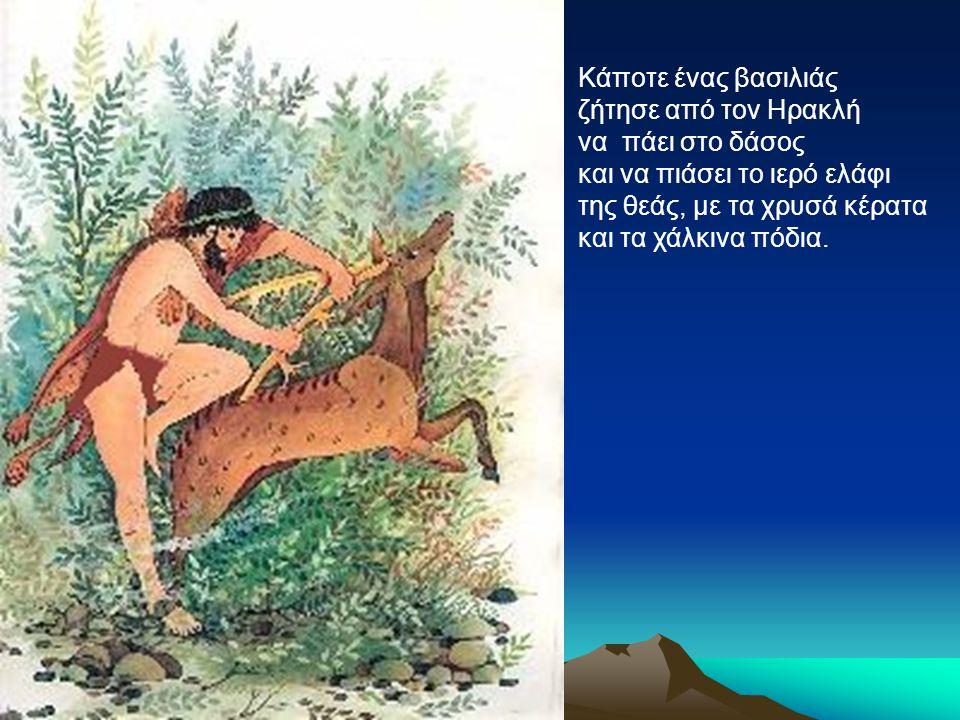 Κάποτε ένας βασιλιάς ζήτησε από τον Ηρακλή να πάει στο δάσος και να πιάσει το ιερό ελάφι της θεάς, με τα χρυσά κέρατα και τα χάλκινα πόδια.