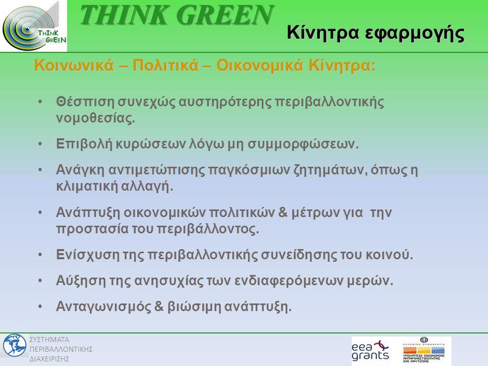 ΣΥΣΤΗΜΑΤΑ ΠΕΡΙΒΑΛΛΟΝΤΙΚΗΣ ΔΙΑΧΕΙΡΙΣΗΣ Κοινωνικά – Πολιτικά – Οικονομικά Κίνητρα: Κίνητρα εφαρμογής •Θέσπιση συνεχώς αυστηρότερης περιβαλλοντικής νομοθεσίας.