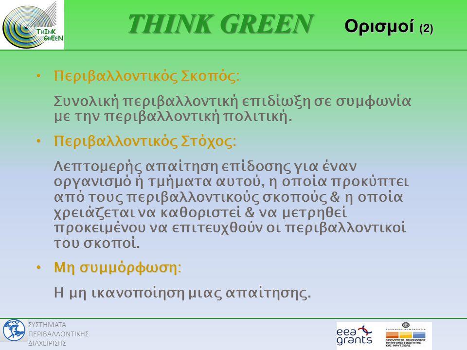 ΣΥΣΤΗΜΑΤΑ ΠΕΡΙΒΑΛΛΟΝΤΙΚΗΣ ΔΙΑΧΕΙΡΙΣΗΣ Διαδικασίες (Προτάσεις) Ανασκόπηση από τη Διοίκηση • Ανασκόπηση ΣΠΔ από τη Διοίκηση & Περιβαλλοντική ΠολιτικήΣχεδιασμός • Αναγνώριση & Αξιολόγηση Περιβαλλοντικών Πλευρών • Παρακολούθηση νομοθετικών & άλλων απαιτήσεων • Καθορισμό Περιβαλλοντικών Σκοπών & Στόχων & Προγραμμάτων Περιβαλλοντικής Διαχείρισης