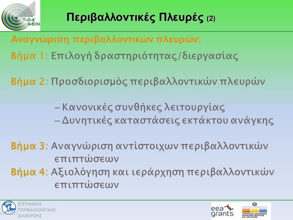 ΣΥΣΤΗΜΑΤΑ ΠΕΡΙΒΑΛΛΟΝΤΙΚΗΣ ΔΙΑΧΕΙΡΙΣΗΣ Βήμα 1: Βήμα 1: Επιλογή δραστηριότητας/διεργασίας Βήμα 2: Βήμα 2: Προσδιορισμός περιβαλλοντικών πλευρών – Κανονικές συνθήκες λειτουργίας – Δυνητικές καταστάσεις εκτάκτου ανάγκης Βήμα 3: Βήμα 3: Αναγνώριση αντίστοιχων περιβαλλοντικών επιπτώσεων Βήμα 4: Βήμα 4: Αξιολόγηση και ιεράρχηση περιβαλλοντικών επιπτώσεων Περιβαλλοντικές Πλευρές (2) Αναγνώριση περιβαλλοντικών πλευρών: