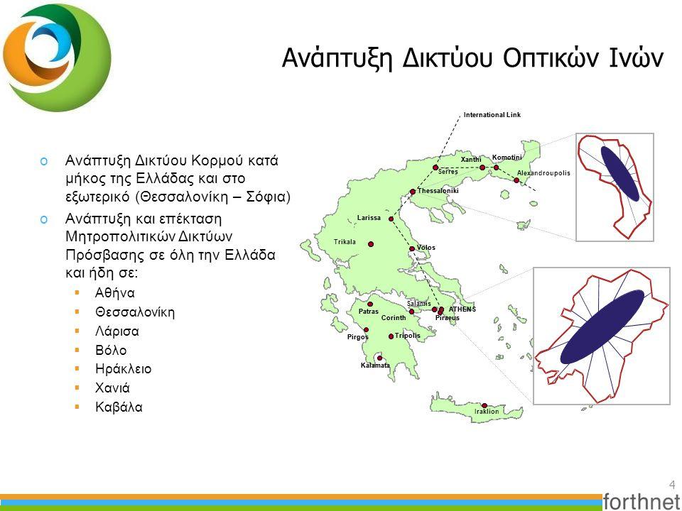 Ανάπτυξη Δικτύου Οπτικών Ινών 4 Piraeus Iraklion ATHENS Salamis Patras Pirgos Kalamata Tripolis Trikala Corinth Serres Volos Thessaloniki Larissa Irak