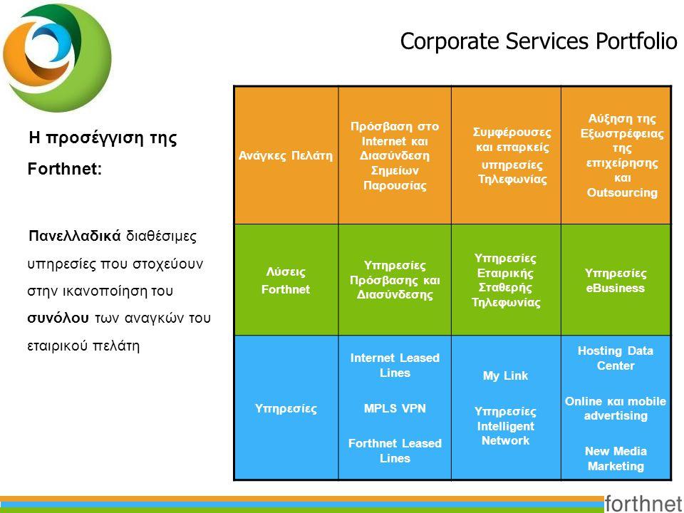 Η προσέγγιση της Forthnet: Πανελλαδικά διαθέσιμες υπηρεσίες που στοχεύουν στην ικανοποίηση του συνόλου των αναγκών του εταιρικού πελάτη Corporate Serv