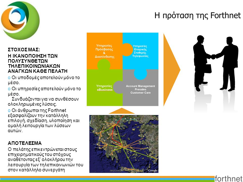 Η πρόταση της Forthnet ΣΤΟΧΟΣ ΜΑΣ: Η ΙΚΑΝΟΠΟΙΗΣΗ ΤΩΝ ΠΟΛΥΣΥΝΘΕΤΩΝ ΤΗΛΕΠΙΚΟΙΝΩΝΙΑΚΩΝ ΑΝΑΓΚΩΝ ΚΑΘΕ ΠΕΛΑΤΗ o Οι υποδομές αποτελούν μόνο το μέσο. o Οι υπη