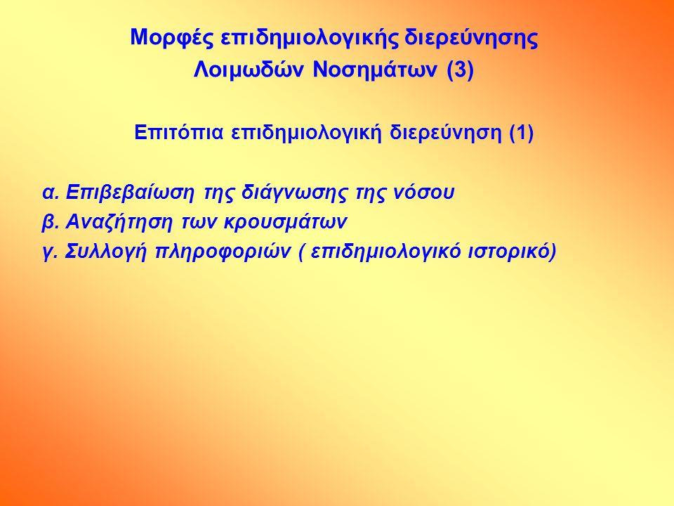 Μορφές επιδημιολογικής διερεύνησης Λοιμωδών Νοσημάτων (3) Επιτόπια επιδημιολογική διερεύνηση (1) α. Επιβεβαίωση της διάγνωσης της νόσου β. Αναζήτηση τ