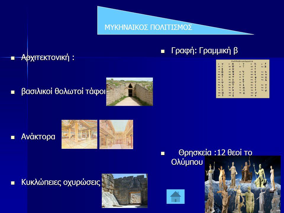 ΜΥΚΗΝΑΙΚΟΣ ΠΟΛΙΤΙΣΜΟΣ  Αρχιτεκτονική :  βασιλικοί θολωτοί τάφοι  Ανάκτορα  Κυκλώπειες οχυρώσεις  Γραφή: Γραμμική β  Θρησκεία :12 θεοί το Ολύμπου