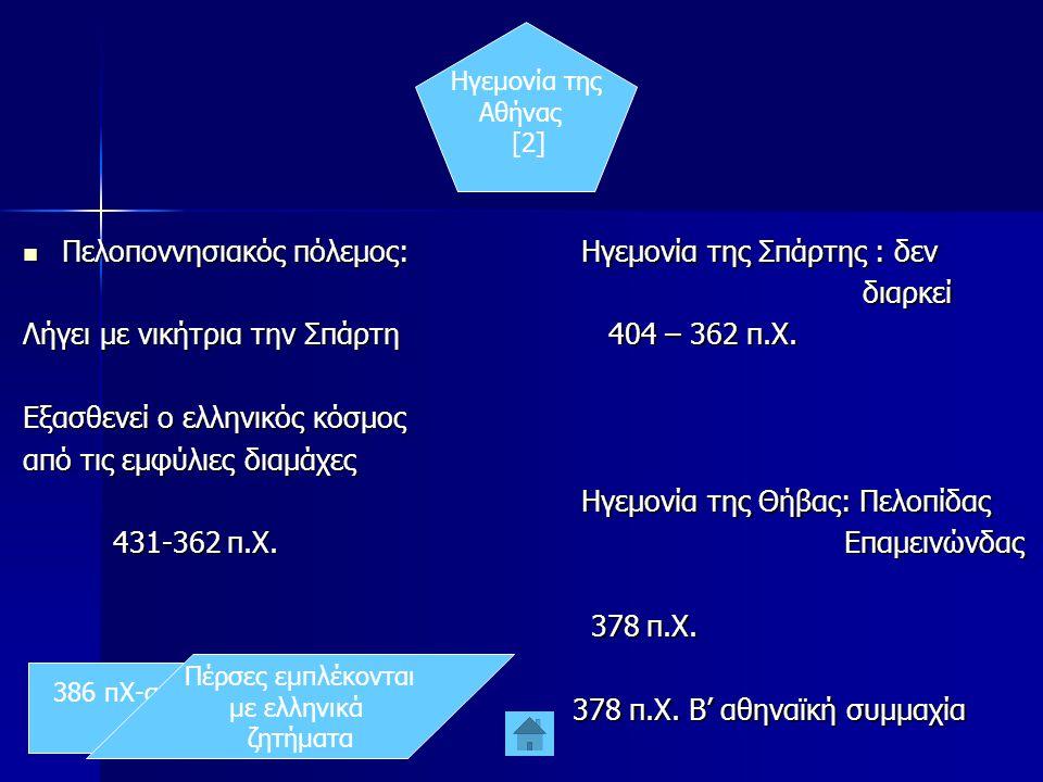 Ηγεμονία της Αθήνας [2]  Πελοποννησιακός πόλεμος: Λήγει με νικήτρια την Σπάρτη Εξασθενεί ο ελληνικός κόσμος από τις εμφύλιες διαμάχες 431-362 π.Χ.