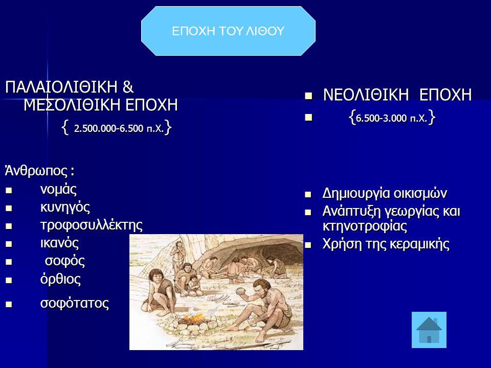 ΕΠΟΧΗ ΤΟΥ ΛΙΘΟΥ ΠΑΛΑΙΟΛΙΘΙΚΗ & ΜΕΣΟΛΙΘΙΚΗ ΕΠΟΧΗ { 2.500.000-6.500 π.Χ. } { 2.500.000-6.500 π.Χ. } Άνθρωπος :  νομάς  κυνηγός  τροφοσυλλέκτης  ικαν