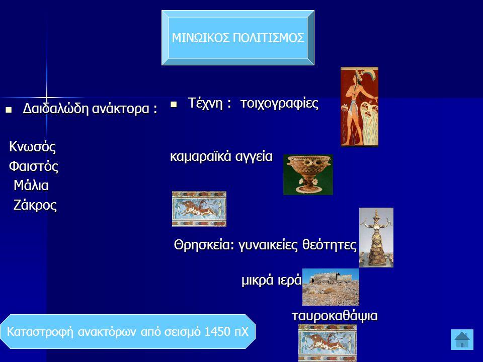 ΜΙΝΩΙΚΟΣ ΠΟΛΙΤΙΣΜΟΣ  Δαιδαλώδη ανάκτορα : Κνωσός Κνωσός Φαιστός Φαιστός Μάλια Μάλια Ζάκρος Ζάκρος  Τέχνη : τοιχογραφίες καμαραϊκά αγγεία ρυτά ρυτά Θρησκεία: γυναικείες θεότητες Θρησκεία: γυναικείες θεότητες μικρά ιερά μικρά ιερά ταυροκαθάψια ταυροκαθάψια Καταστροφή ανακτόρων από σεισμό 1450 πΧ