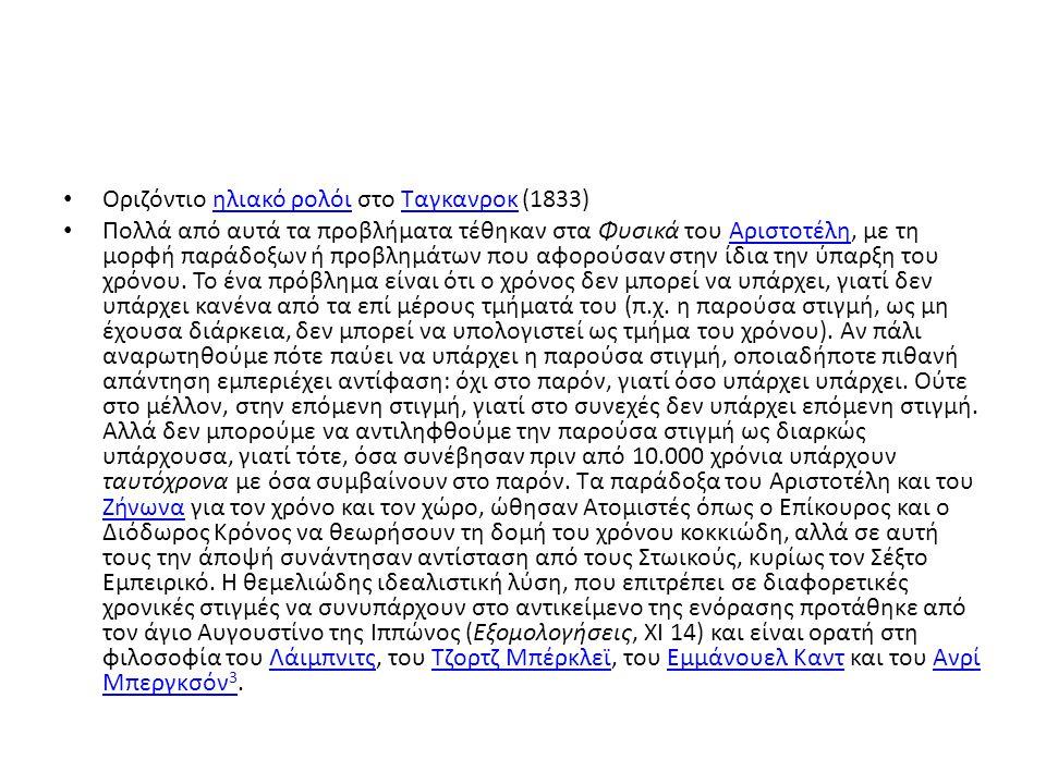 • Οριζόντιο ηλιακό ρολόι στο Ταγκανροκ (1833)ηλιακό ρολόιΤαγκανροκ • Πολλά από αυτά τα προβλήματα τέθηκαν στα Φυσικά του Αριστοτέλη, με τη μορφή παράδοξων ή προβλημάτων που αφορούσαν στην ίδια την ύπαρξη του χρόνου.