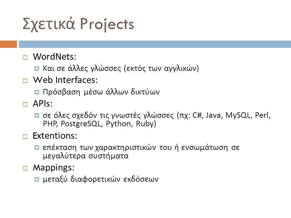 Σχετικά Projects  WordNets:  Και σε άλλες γλώσσες ( εκτός των αγγλικών )  Web Interfaces:  Πρόσβαση μέσω άλλων δικτύων  APIs:  σε όλες σχεδόν τις γνωστές γλώσσες ( πχ : C#, Java, MySQL, Perl, PHP, PostgreSQL, Python, Ruby)  Extentions:  επέκταση των χαρακτηριστικών του ή ενσωμάτωση σε μεγαλύτερα συστήματα  Mappings:  μεταξύ διαφορετικών εκδόσεων