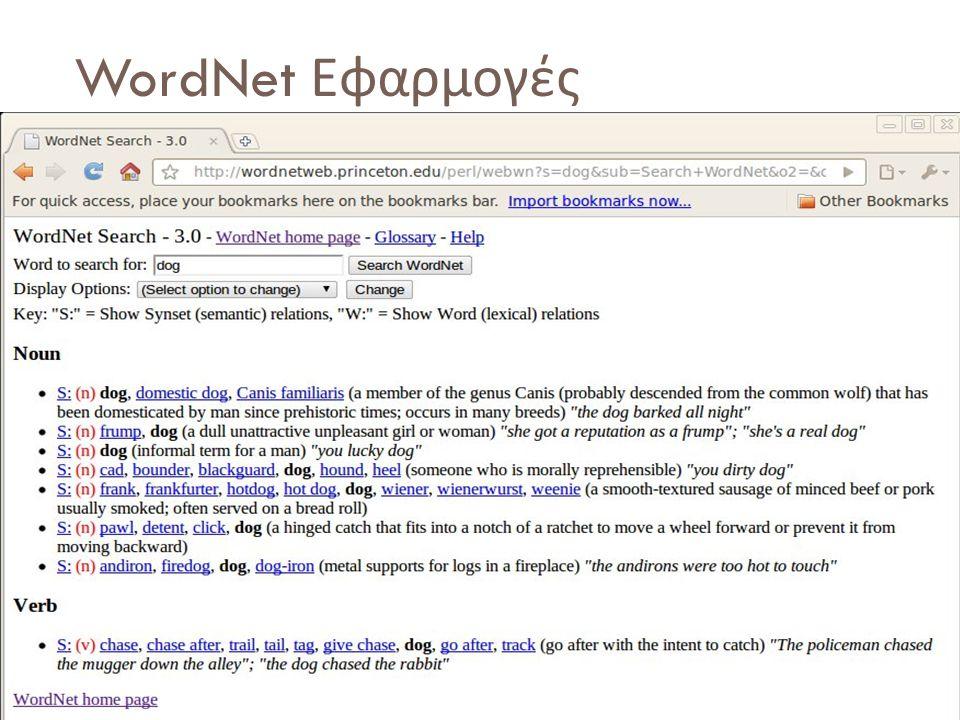 WordNet Εφαρμογές