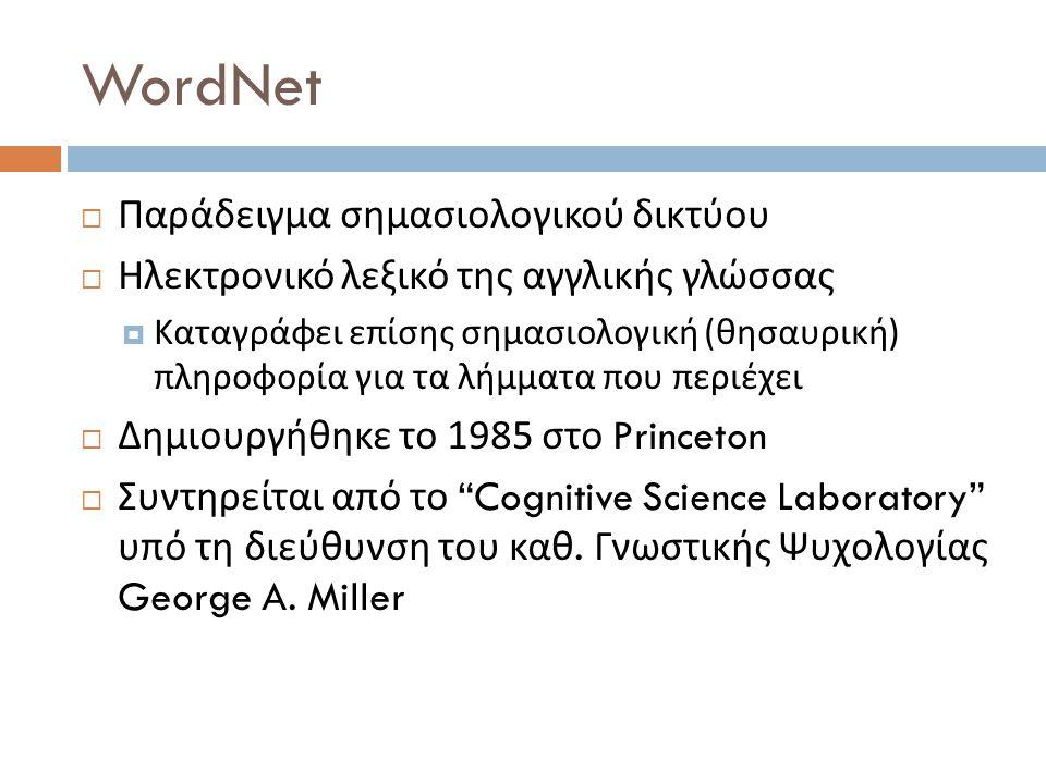 WordNet  Παράδειγμα σημασιολογικού δικτύου  Ηλεκτρονικό λεξικό της αγγλικής γλώσσας  Καταγράφει επίσης σημασιολογική ( θησαυρική ) πληροφορία για τα λήμματα που περιέχει  Δημιουργήθηκε το 1985 στο Princeton  Συντηρείται από το Cognitive Science Laboratory υπό τη διεύθυνση του καθ.