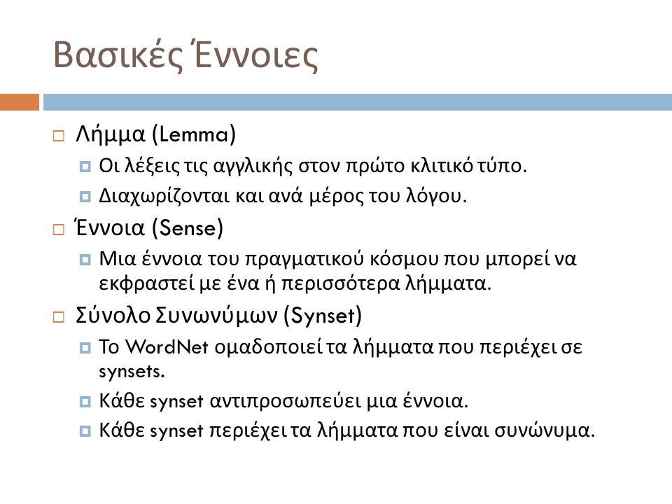 Βασικές Έννοιες  Λήμμα (Lemma)  Οι λέξεις τις αγγλικής στον πρώτο κλιτικό τύπο.  Διαχωρίζονται και ανά μέρος του λόγου.  Έννοια (Sense)  Μια έννο