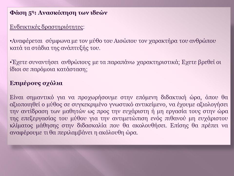 Φάση 5 η : Ανασκόπηση των ιδεών Ενδεικτικές δραστηριότητες: • Αναφέρεται σύμφωνα με τον μύθο του Αισώπου τον χαρακτήρα του ανθρώπου κατά τα στάδια της