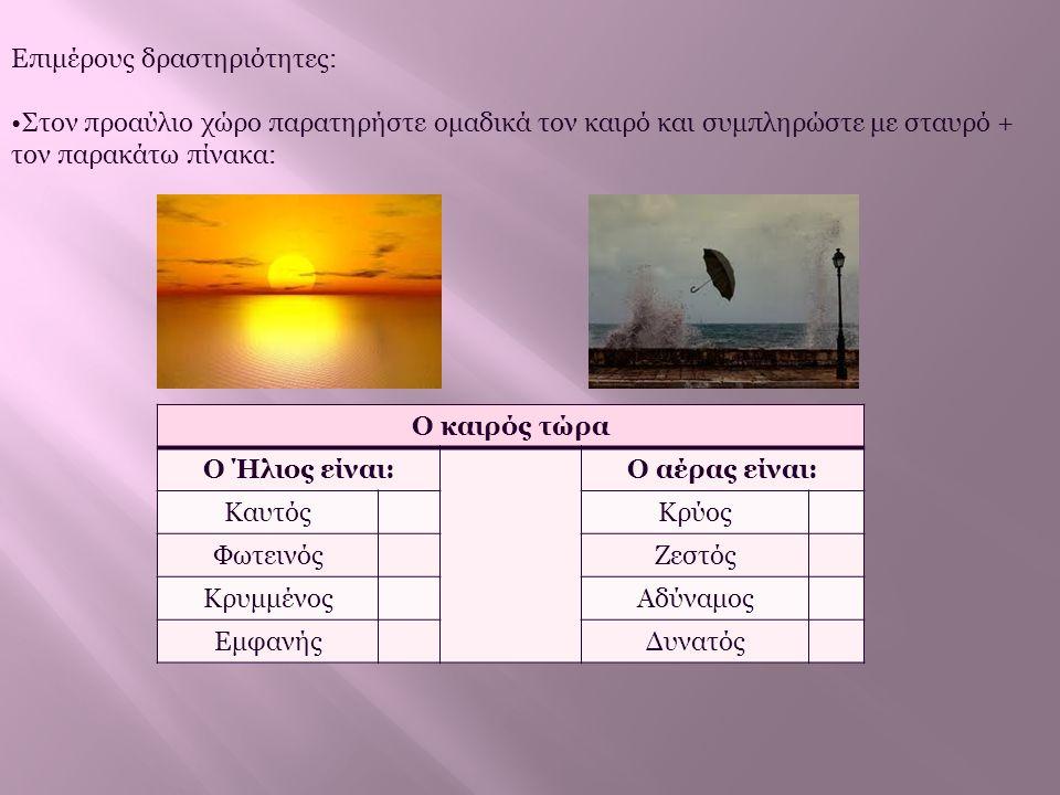 Επιμέρους δραστηριότητες: •Στον προαύλιο χώρο παρατηρήστε ομαδικά τον καιρό και συμπληρώστε με σταυρό + τον παρακάτω πίνακα: Ο καιρός τώρα Ο Ήλιος είν