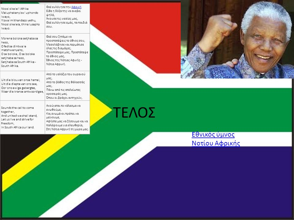 Εθνικός ύμνος Νοτίου Αφρικής ΤΕΛΟΣ Nkosi sikelel iAfrika Maluphakanyisw uphondo lwayo, Yizwa imithandazo yethu, Nkosi sikelela, thina lusapho lwayo.