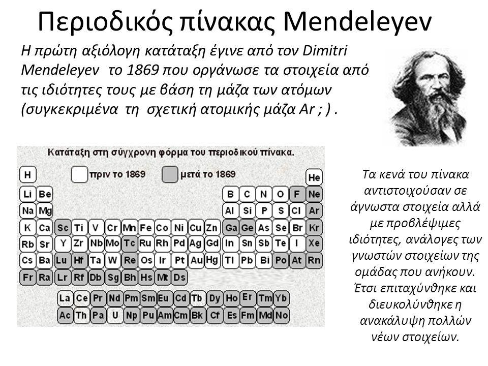 Περιοδικός πίνακας Mendeleyev Η πρώτη αξιόλογη κατάταξη έγινε από τον Dimitri Mendeleyev το 1869 που οργάνωσε τα στοιχεία από τις ιδιότητες τους με βά