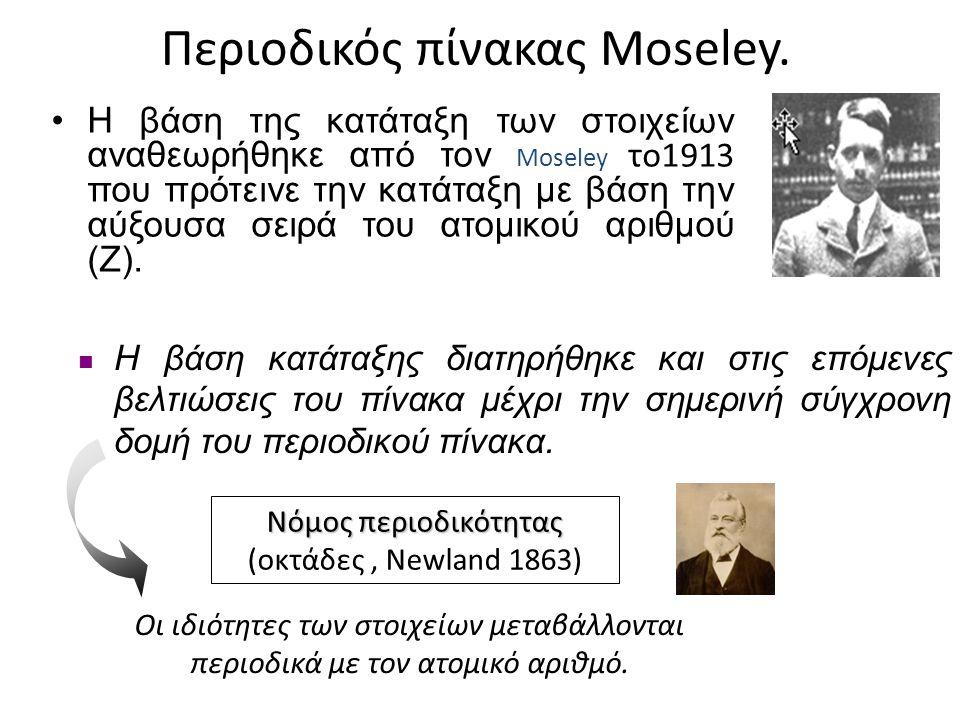 Περιοδικός πίνακας Moseley. •Η βάση της κατάταξη των στοιχείων αναθεωρήθηκε από τον Moseley το1913 που πρότεινε την κατάταξη με βάση την αύξουσα σειρά