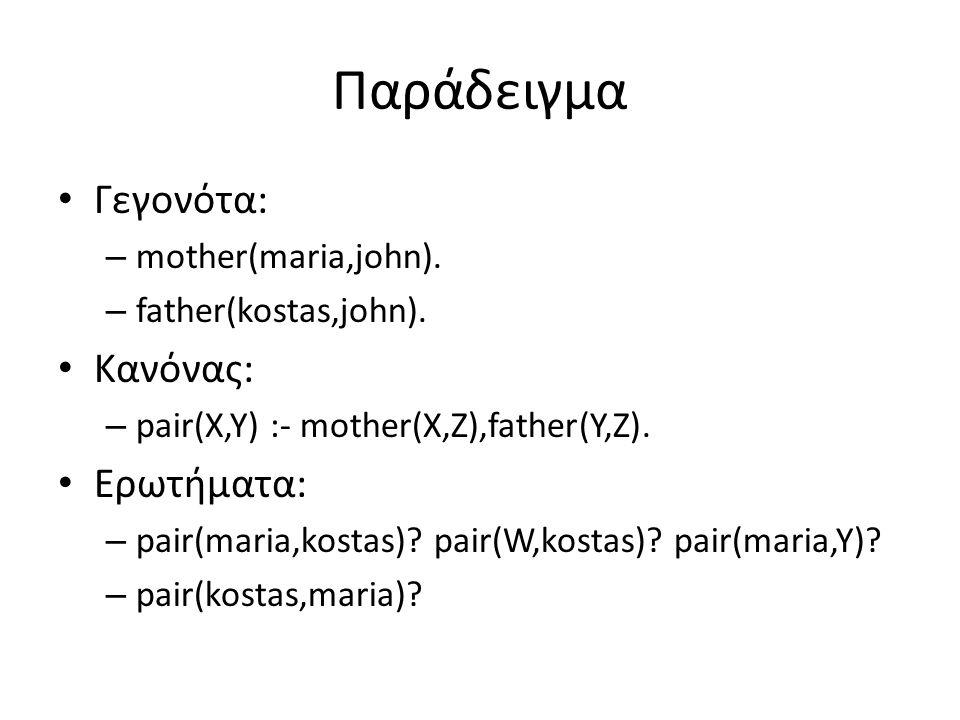 Παράδειγμα • Γεγονότα: – mother(maria,john). – father(kostas,john).