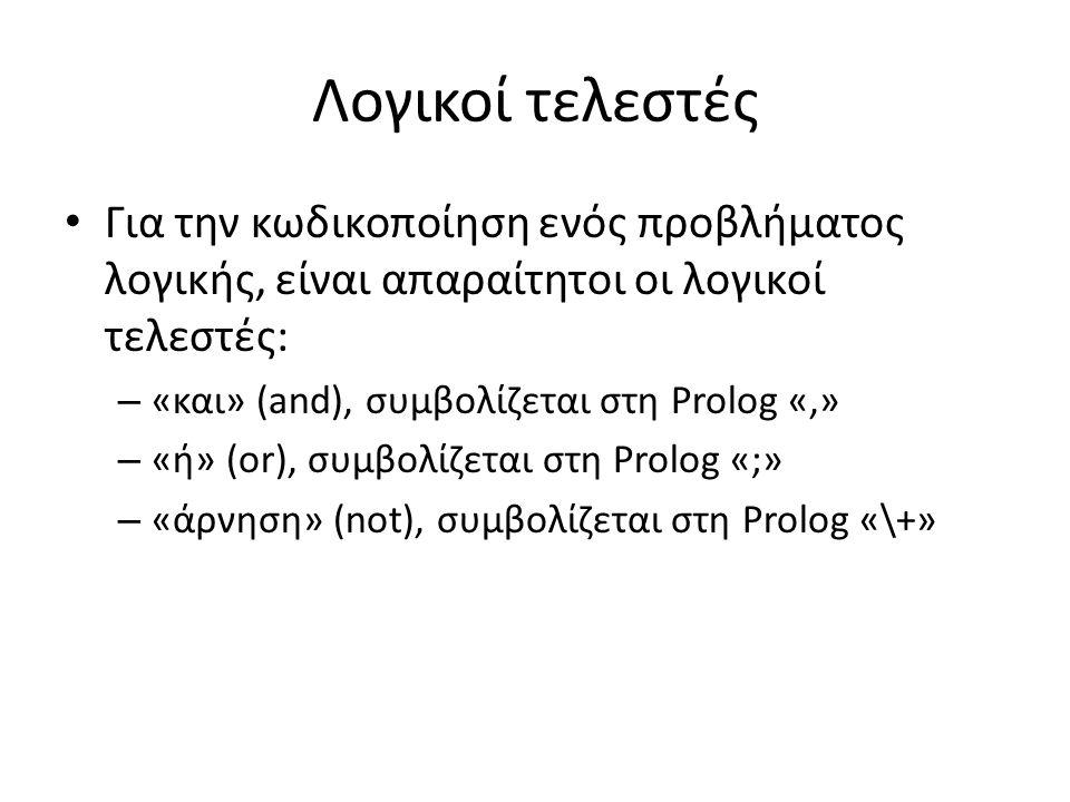 Λογικοί τελεστές • Για την κωδικοποίηση ενός προβλήματος λογικής, είναι απαραίτητοι οι λογικοί τελεστές: – «και» (and), συμβολίζεται στη Prolog «,» – «ή» (or), συμβολίζεται στη Prolog «;» – «άρνηση» (not), συμβολίζεται στη Prolog «\+»