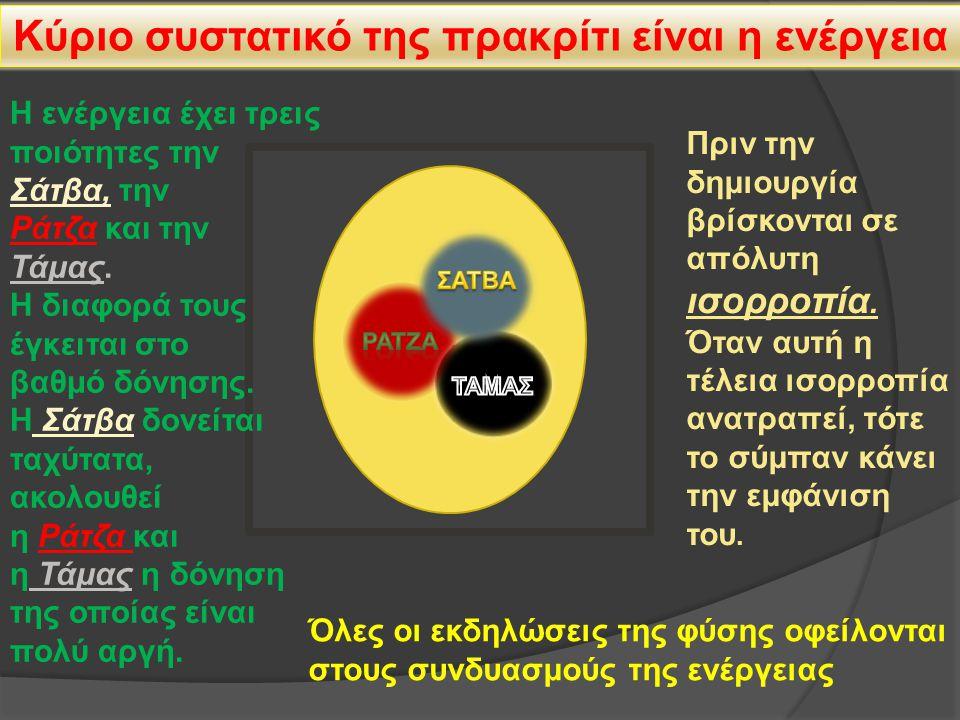 Κύριο συστατικό της πρακρίτι είναι η ενέργεια Η ενέργεια έχει τρεις ποιότητες την Σάτβα, την Ράτζα και την Τάμας.