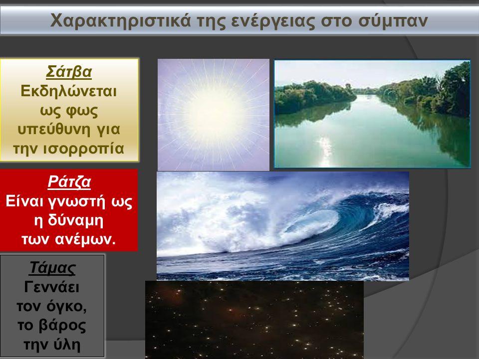Χαρακτηριστικά της ενέργειας στο σύμπαν Σάτβα Εκδηλώνεται ως φως υπεύθυνη για την ισορροπία Ράτζα Είναι γνωστή ως η δύναμη των ανέμων.