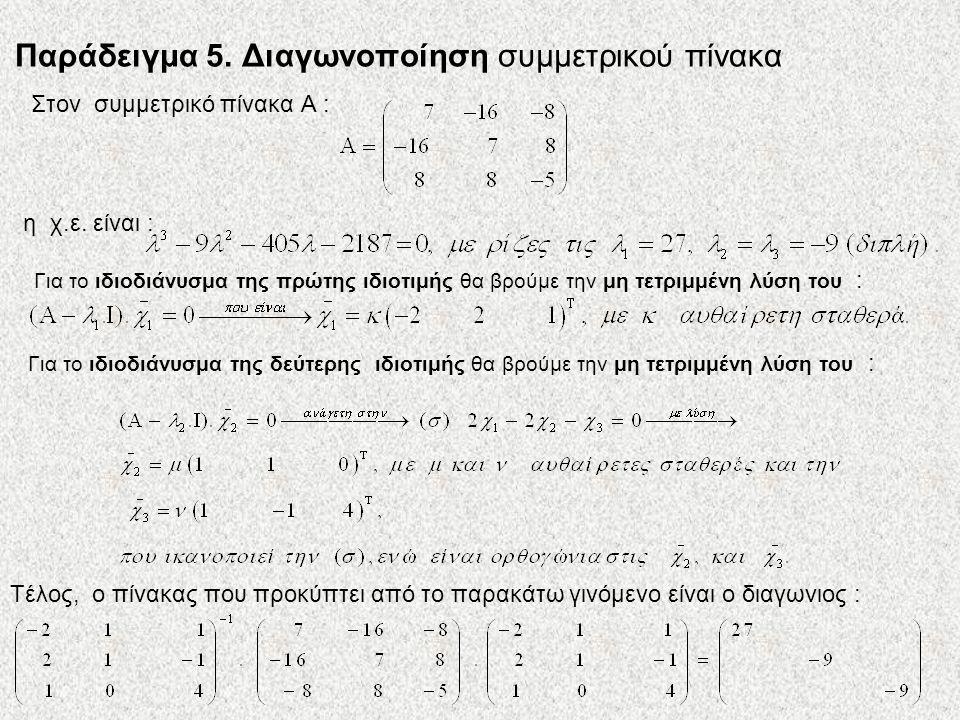Παράδειγμα 5. Διαγωνοποίηση συμμετρικού πίνακα Στον συμμετρικό πίνακα Α : η χ.ε. είναι : Για το ιδιοδιάνυσμα της πρώτης ιδιοτιμής θα βρούμε την μη τετ
