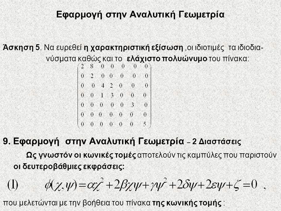 Εφαρμογή στην Αναλυτική Γεωμετρία Άσκηση 5. Να ευρεθεί η χαρακτηριστική εξίσωση,οι ιδιοτιμές τα ιδιοδια- νύσματα καθώς και το ελάχιστο πολυώνυμο του π