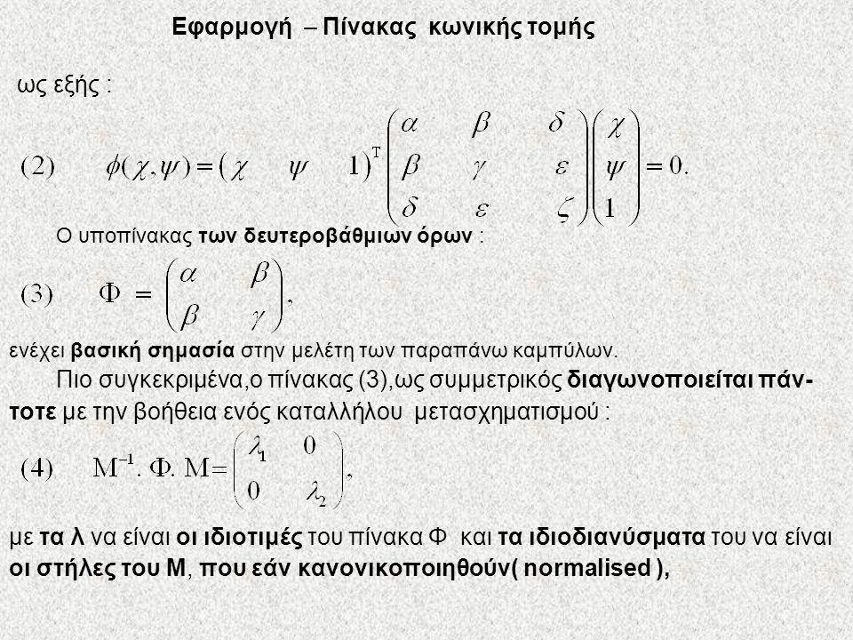 Εφαρμογή – Πίνακας κωνικής τομής ως εξής : Ο υποπίνακας των δευτεροβάθμιων όρων : ενέχει βασική σημασία στην μελέτη των παραπάνω καμπύλων. Πιο συγκεκρ