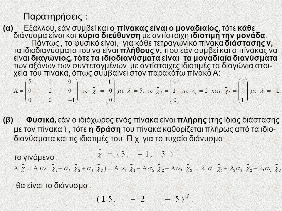 Παρατηρήσεις : (α) Εξάλλου, εάν συμβεί και ο πίνακας είναι ο μοναδιαίος, τότε κάθε διάνυσμα είναι και κύρια διεύθυνση με αντίστοιχη ιδιοτιμή την μονάδ