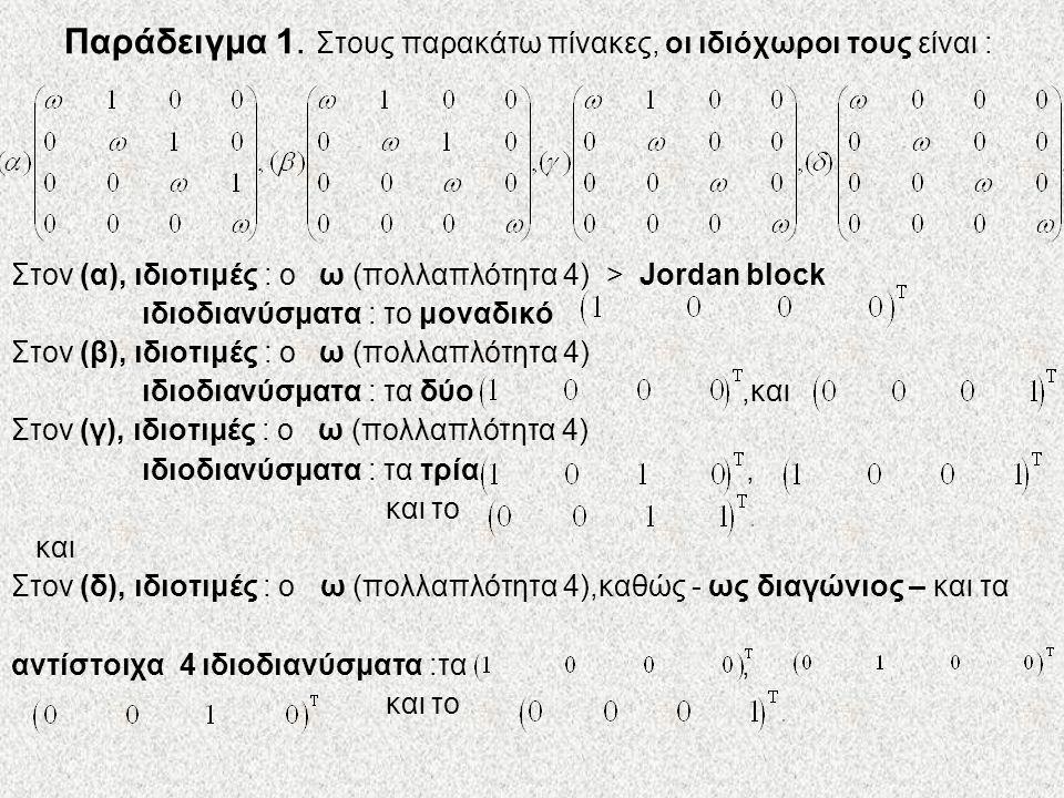 Παράδειγμα 1. Στους παρακάτω πίνακες, οι ιδιόχωροι τους είναι : Στον (α), ιδιοτιμές : ο ω (πολλαπλότητα 4) > Jordan block ιδιοδιανύσματα : το μοναδικό