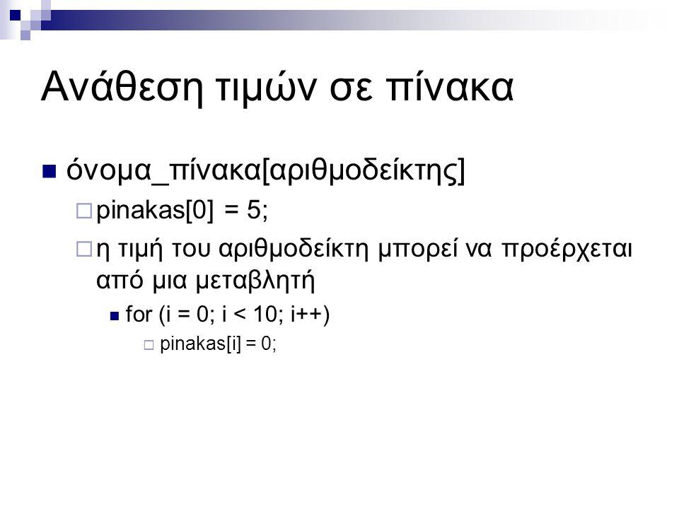Ανάθεση τιμών σε πίνακα  όνομα_πίνακα[αριθμοδείκτης]  pinakas[0] = 5;  η τιμή του αριθμοδείκτη μπορεί να προέρχεται από μια μεταβλητή  for (i = 0;