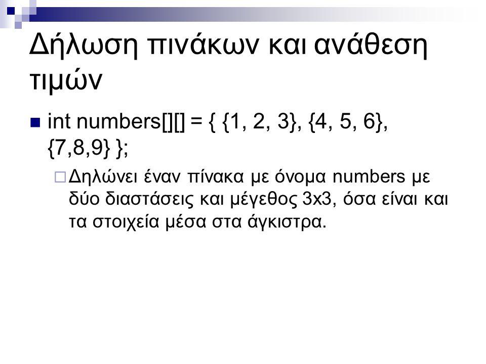 Δήλωση πινάκων και ανάθεση τιμών  int numbers[][] = { {1, 2, 3}, {4, 5, 6}, {7,8,9} };  Δηλώνει έναν πίνακα με όνομα numbers με δύο διαστάσεις και μ