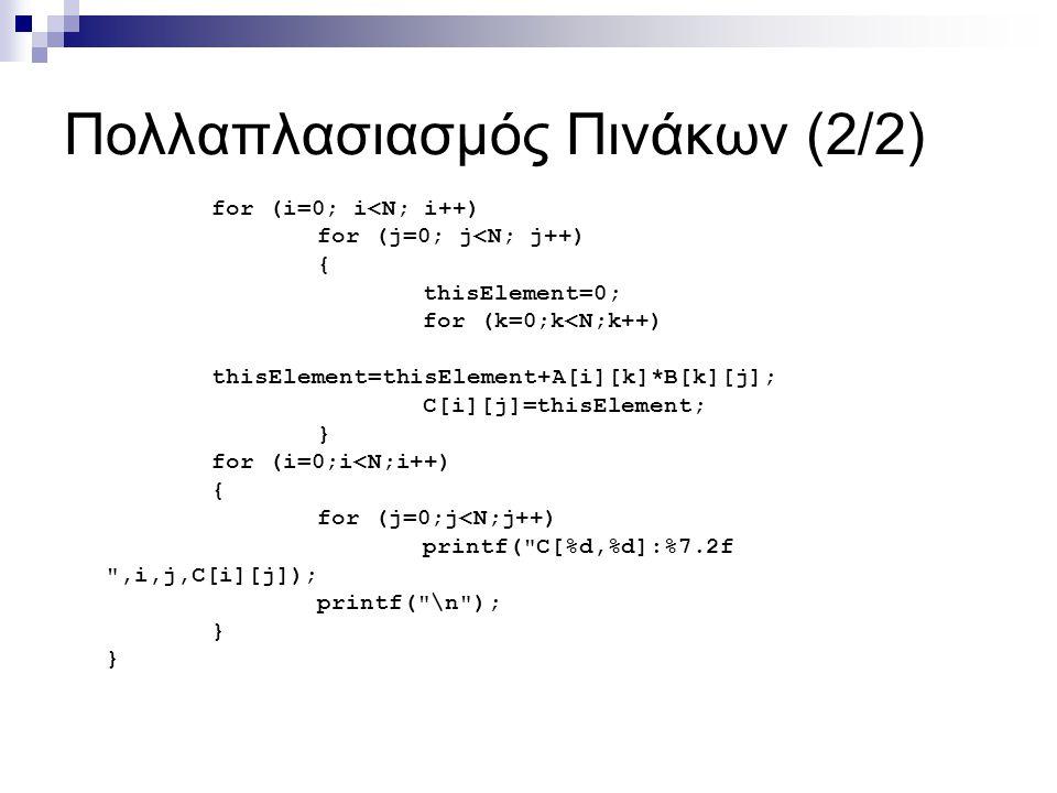 Πολλαπλασιασμός Πινάκων (2/2) for (i=0; i<N; i++) for (j=0; j<N; j++) { thisElement=0; for (k=0;k<N;k++) thisElement=thisElement+A[i][k]*B[k][j]; C[i]
