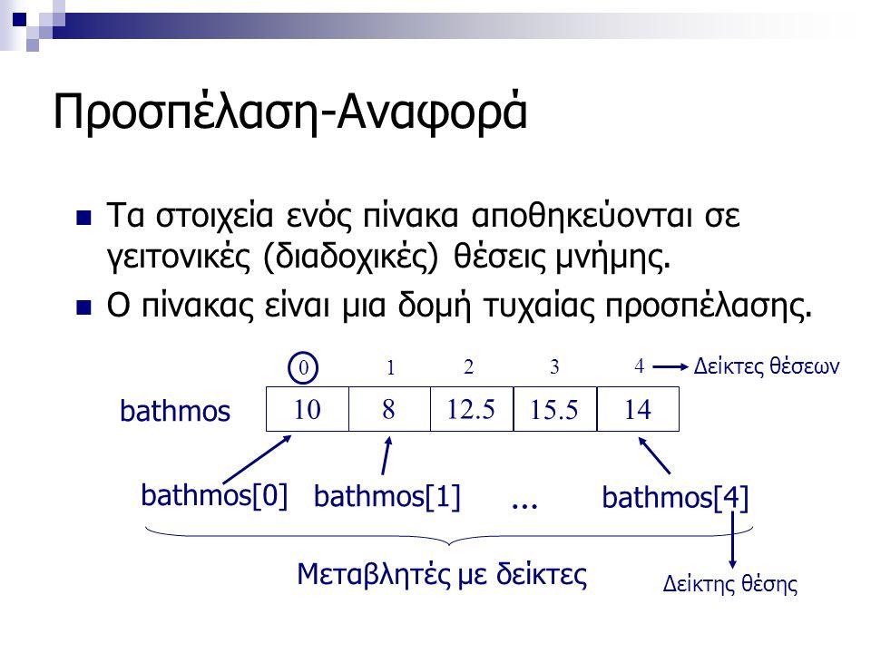 Προσπέλαση-Αναφορά  Τα στοιχεία ενός πίνακα αποθηκεύονται σε γειτονικές (διαδοχικές) θέσεις μνήμης.  Ο πίνακας είναι μια δομή τυχαίας προσπέλασης. 1